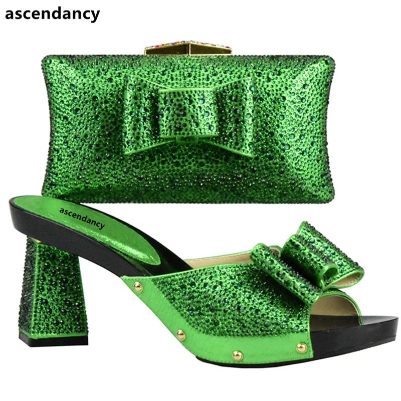Strass Correspondant Femmes Africain Vert Ensemble rouge or Avec Italien Parti Assorti Et Sac Chaussures Noir vert Couleur bleu Décoré argent 008dqrw