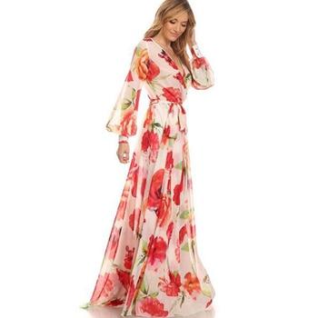 8ae408e110 WBCTW otoño Vestido de playa Sexy escote en V profundo de alta cintura  vestido de mujer vestido de primavera 9XL 10XL Plus tamaño Falda larga  Floral vestido