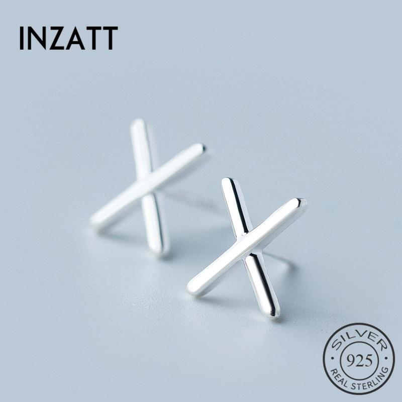 INZATT Minimalist Letter X Lovers Style Stud Earrings Charm Silver 925 Men Earrings Fashion Jewelry personality Accessories Gift