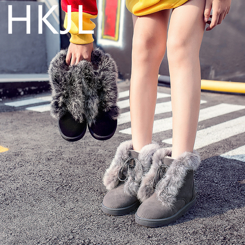 HKJL Shoes woman Snow boots 2019 winter new Boots women tie with cashmere warm womens fashion Women\x27s Z029