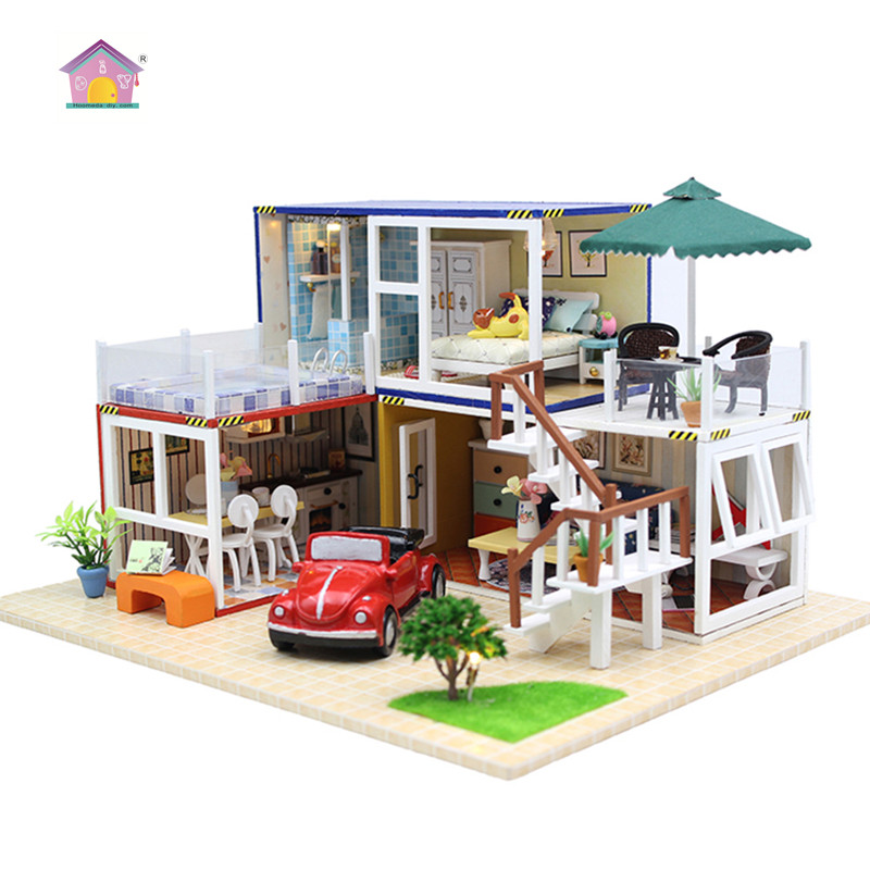 Hoomeda New arrival Miniature Wooden Doll House With DIY Furniture Fidget Toys For Kids Children Birthday Gift Container house 2 цена 2017