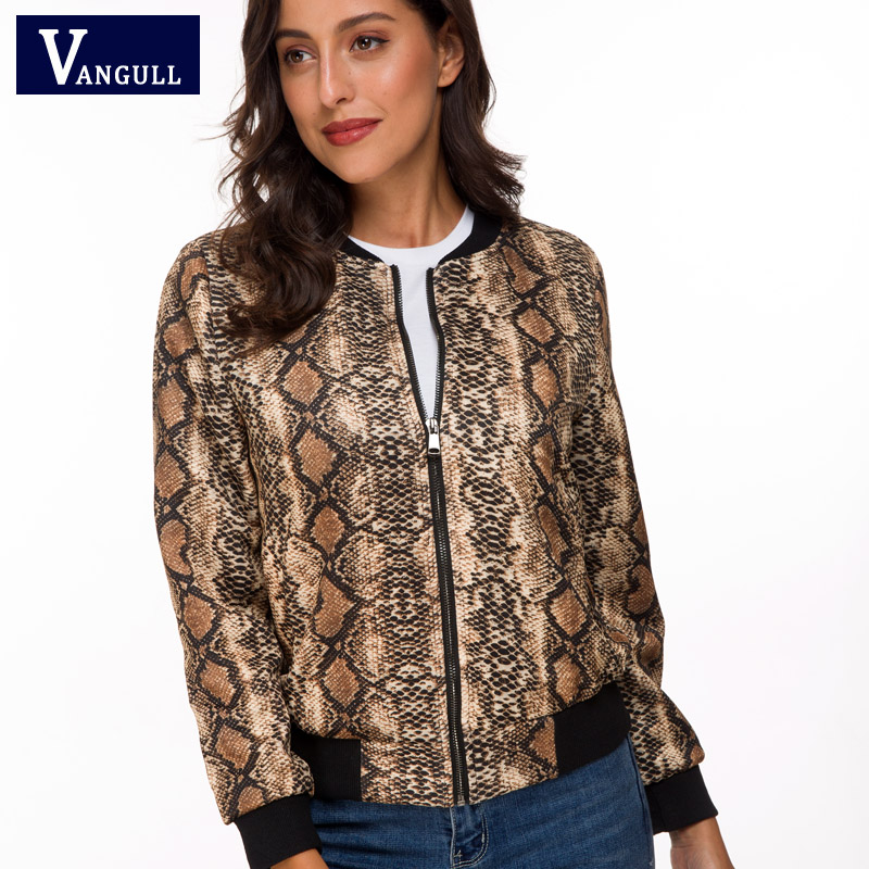 Vangull 2019 New Spring Autumn Women Bomber Snake   Jacket   Long Sleeve Zipper Coat   Jacket   Fashion Female   Basic     Jacket   Outerwear