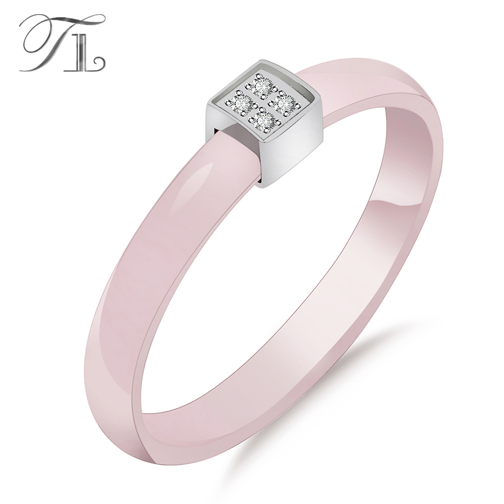 TL Pink Ceramic Ring For Women Stainless Steel Silver Zircon Cute Simple Thin Pick Ceramic Rings Unique Wedding Engagement Rings