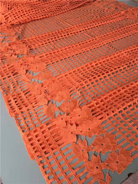 2017 Latest design african guipure lace fabric orange color high quality nigerian cord lace fabric for