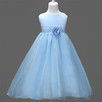 Fashion Simple Light Blue White Pink Sleeveless Red Pink White Flower Girl Gown Wedding Dresses for 2 To 12 Year Girls