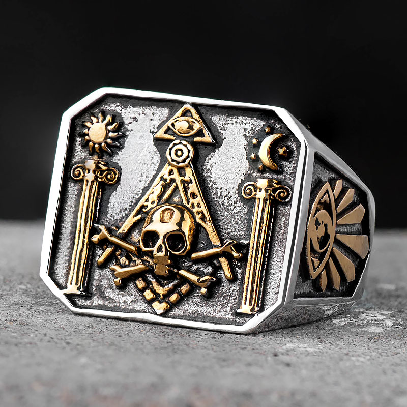 Skull MasonicRing For Men   Stainless steel  Omniscient eye and freemason Totem Jewelry