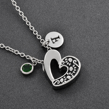 DIY Hollow Out Heart Pet cremation jewlery Pendant with Birthstone Memorial Jewelry Ash Keepsake Charms Stainless Steel