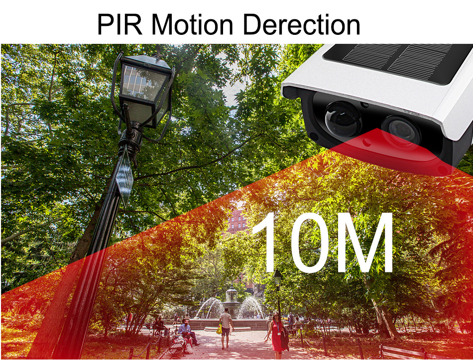 Smar გარე წყალგაუმტარი დაცვა მზის კამერა 1080P Wifi უსადენო IP კამერა მობილური ტელეფონი დისტანციური მართვის ჩამონტაჟებული 7650mA აკუმულატორი (6)
