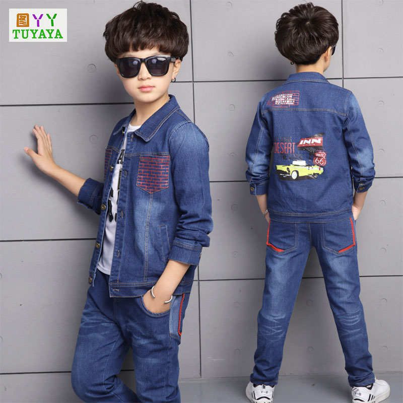 цены Clothing Set Boys Sport Suit Children Tracksuits Cartoon Jeans+Pants Suits New Spring 2018 Baby Sportswear Clothes Suits
