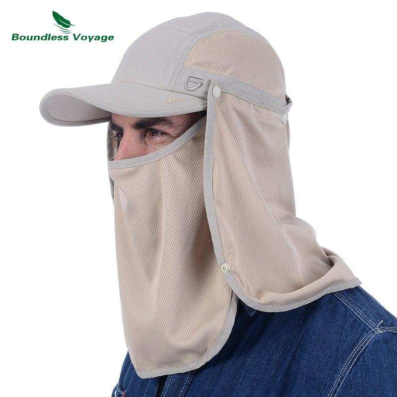 Boundless Voyage Men Women Sunhat Summer Adjustable UPF 50+ UV Sun Protection Baseball Caps Fishing Jungle Hat Detachable Mask