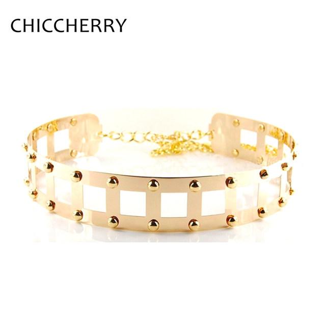 Nueva Moda de Las Mujeres Cinturones de La Cintura con la Decoración Del Remache de Metal de Oro Cadena Metálicos para Vestido de Las Señoras Cummerbund Ancho Cinto Feminino