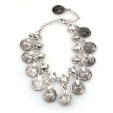 Fashion Bohemian Turkish Jewelry Ethnic Vintage Silver Coin Bracelet Ankle Coin Beads Ankle Bracelet Wholesale Good Quality