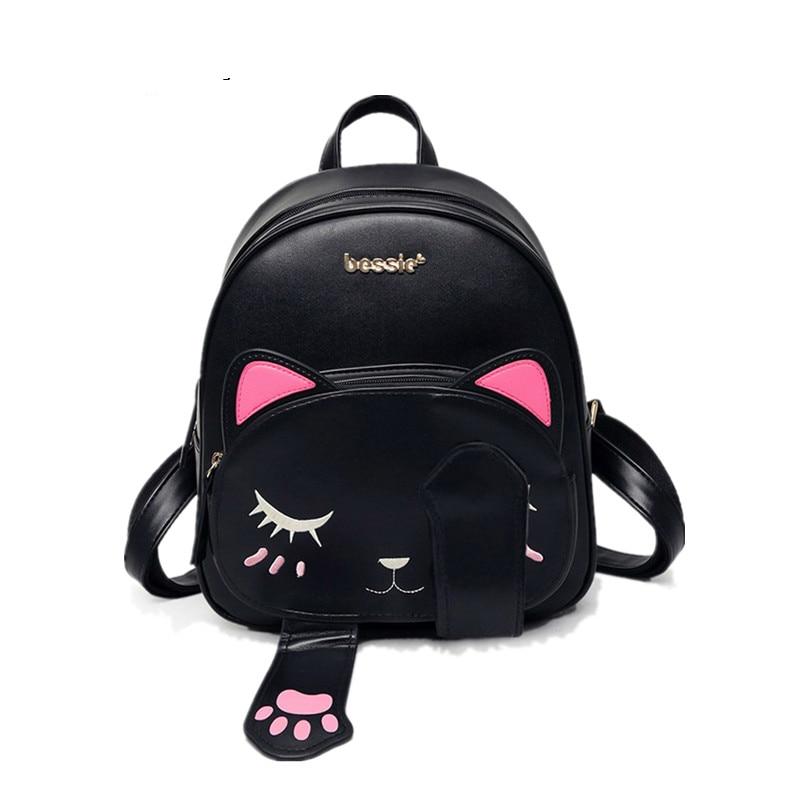2017 New Fashion Korean Style Women's Backpack Pu Leather School Backpack Shoulders Bag Cute Kitten Backpacks for girls SW0076 new korean women pu leather backpack mini fashion students girls school bag vintage backpack mochilas mujer rucksack designer