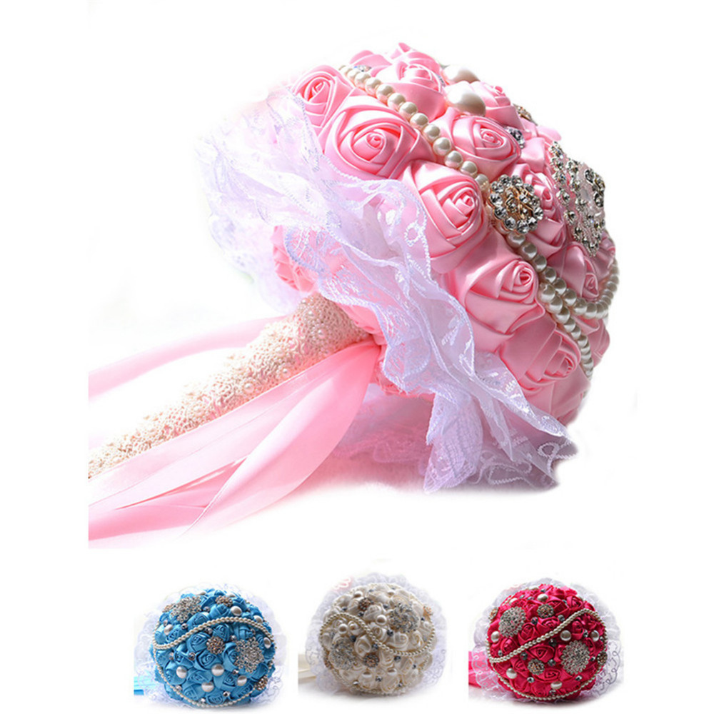 Mariée fleurs à la main fleurs séchées bouquet de main Bouquets de mariée soie Roses décoration pour mariage