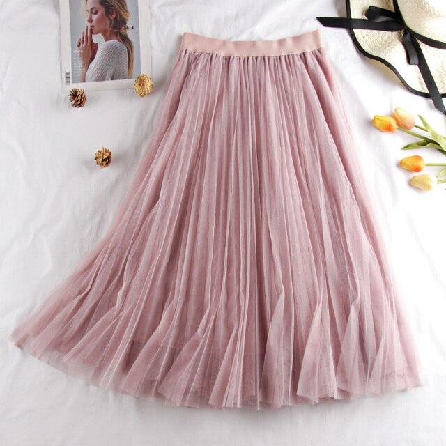 Tulle Skirts Womens Midi Pleated Skirt Black Pink Tulle Skirt Women 2019 Spring Summer Korean Elastic High Waist Mesh Tutu Skirt 4