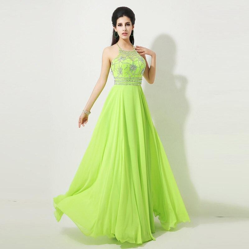 cdb4f024108f9 Elegant Halter Coral chiffon Prom Dresses long Crystal Formal Dress ...