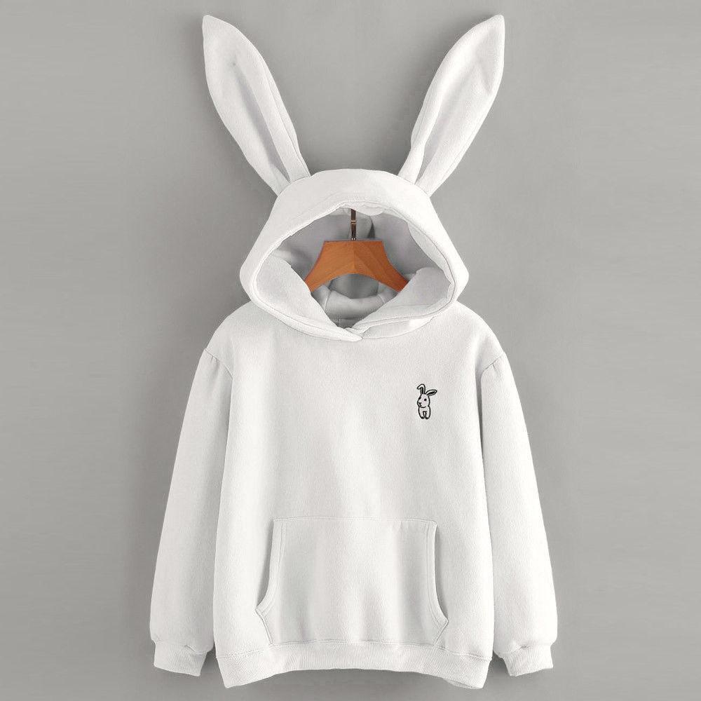 Women Girls Sweet Hoodies Sweatshirt Rabbit Ears Embroidery Hoody Autumn  Spring Oversize Cute Loose Pull Hoodie Tracksuit anime af2297dc5