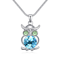 ANNGILL Blue Crystals From Swarovski Owl Boho Chokers Necklaces Pendants For Women Christmas Gifts Fashion Jewelry