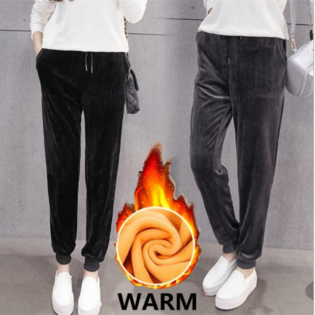 WKOUD Women Winter Velvet Pants Gold Fleeces Thickening Elastic Drawstring Waist Harem Pants Female Warm Hot Trousers P8103 1