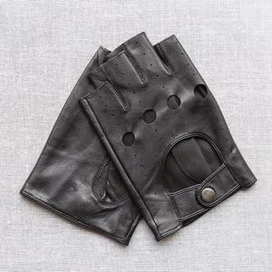 Image 3 - Svadilfari wholesale Winter 2018 Mens Sheepskin Driving Genuine Leather Gloves Fingerless Black Driver Glove Fathers Day Gift