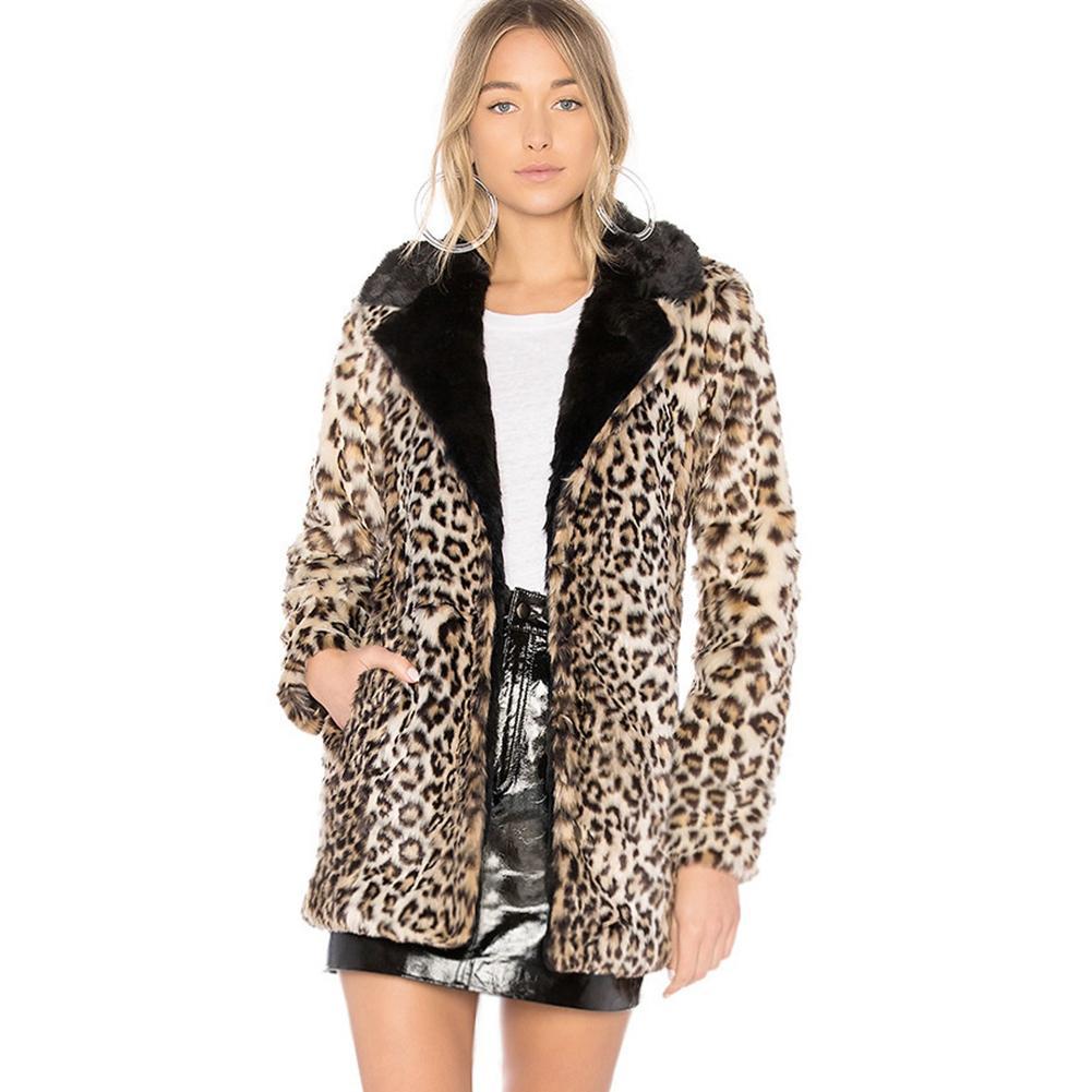S 6XL Womens Leopard Print Faux Fur Coat Women Casual Raccoon Fur Collar  Fashion Man-Made ... 9c17673a8