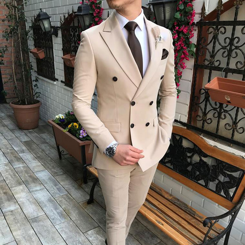 Khaki Prom Suits Men Suits For Wedding Best Man Blazers Groomsmen Tuxedos Peaked Lapel 2Piece Costume Homme Terno Masculino