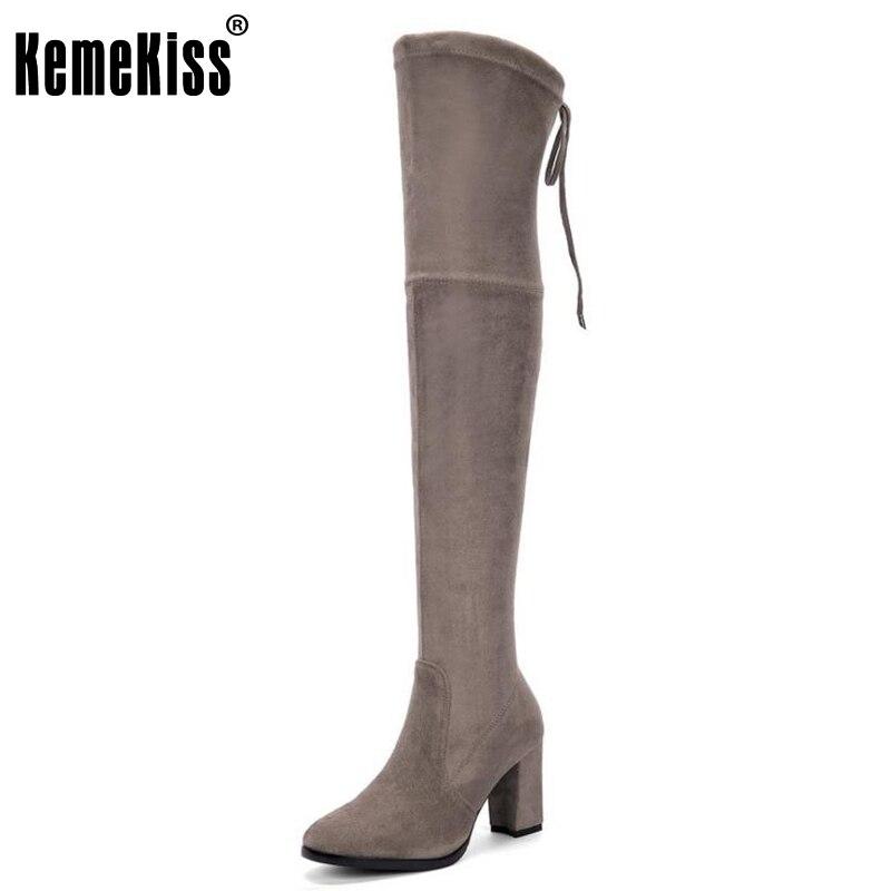 цены на KemeKiss Women Real Leather Thick High Heel Over Knee Winter Boots For Women Pointed Toe Thigh High Warm Long Botas Size 34-39 в интернет-магазинах