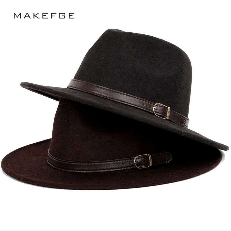 62164855d6c Dropwow Wool shallow fedora warm adjustable men s fashion hats unisex belt  gold buckle male large size 60CM caps hat classic bowler jazz