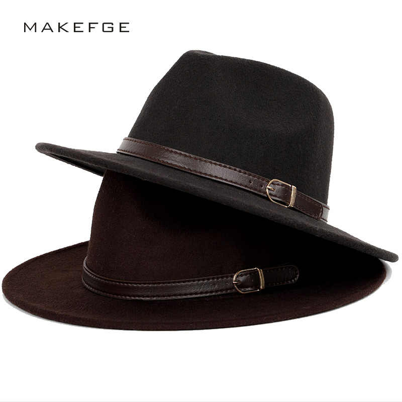 14056371dd75d Wool shallow fedora warm adjustable men s fashion hats unisex belt gold  buckle male large size 60CM