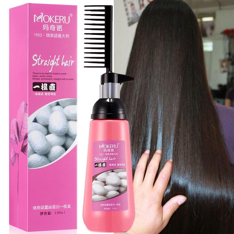 Mokeru 150ml Nourishing Fast Smoothing Collagen Hair Straightening Cream for Woman Keratin Hair Treatment Straightening