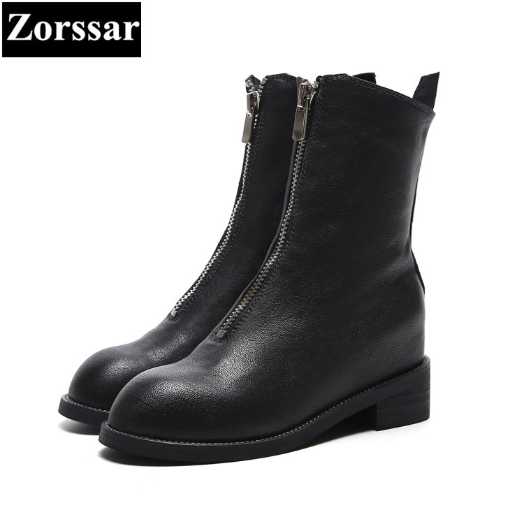 {Zorssar} 2018 NEW arrival fashion women boots Genuine leather Round Toe Med heel Mid-Calf boots autumn winter women shoes spring black coffee genuine leather boots women sexy shoes western round toe zipper mid calf soft heel 3cm solid size 36 39 38