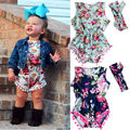 Newborn Toddler Baby Girls Bodysuits Clothes Tops Head Bands Floral Vintage Sleeveless Jumpsuit Sunsuit Clothing Set