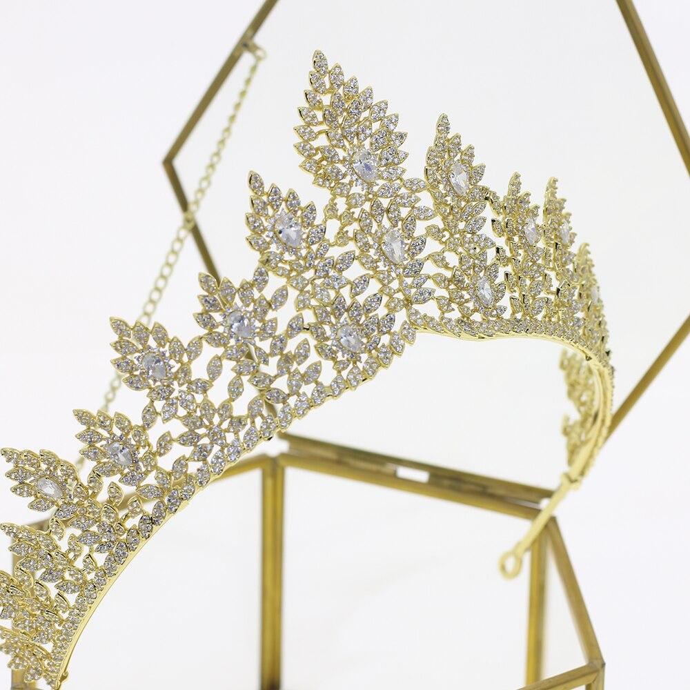 Full zircon crystal bridal Gold Crown Wedding Headband royal princess evening Hair Jewelry Wedding Accessories
