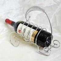 Modern Design Red Wine Holder Silver Metal Table Stand Wine Bottle Rack For Home Bars Hotel