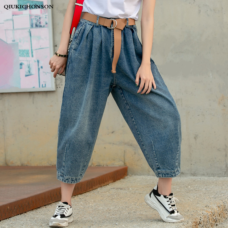 Джинсы женские, большие размеры, модные, уличные, эластичные, с высокой талией, плиссированные, шаровары, джинсовые шаровары, женские, свобод...