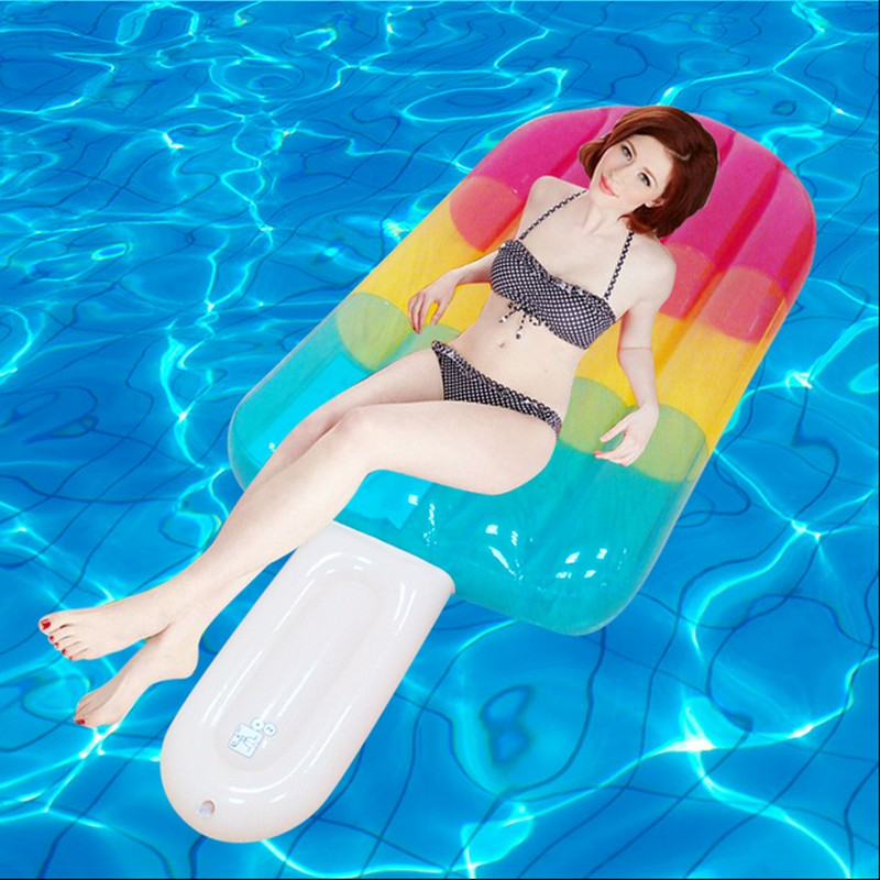 2017 Water Game Toy Kickboard Floating Ice-cream Lounge Chair 180*70*20cm Inflatable Popsicle Float Bed Air Mattress for adults environmentally friendly pvc inflatable shell water floating row of a variety of swimming pearl shell swimming ring
