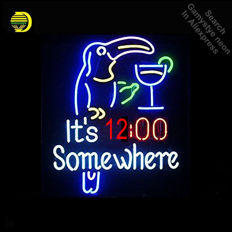 Its 12 Oclock Somewhere Parrot NEON LIGHT SIGN REAL GLASS Tube PUB Light Sign Store Disp ...
