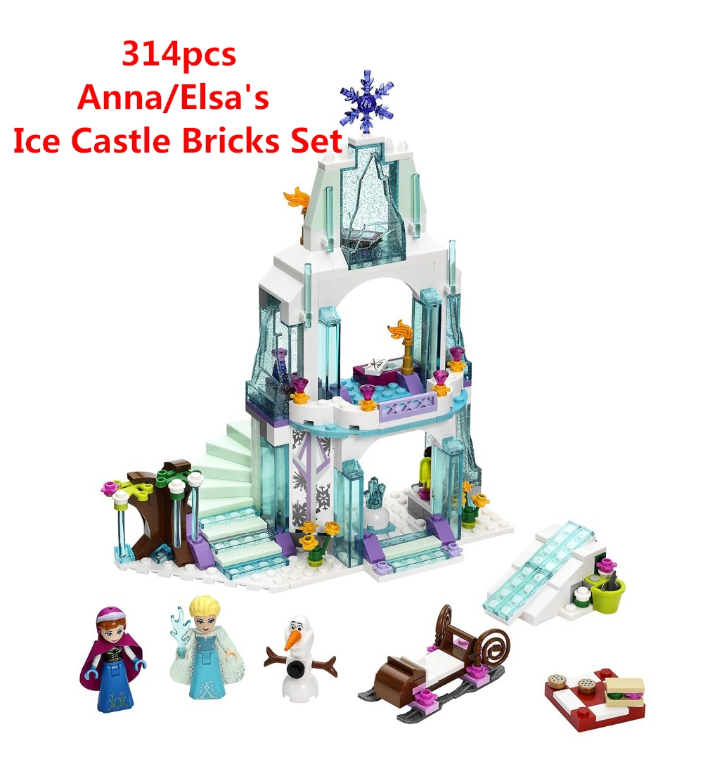 Girl Series Elsa's Sparkling Ice Castle Model Anna Elsa Queen Kristoff Olaf Building Blocks Toys Compatible Lepin Friends m mism 2pcs new rhinestone bead hair elastic band hair accessories rubber tie gum ponytail holder scrunchy for women girls