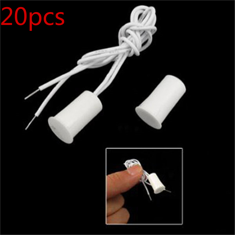 20PCS Magnetic Switch Wired Door And Window Sensor Embedded Alarm Contact Safety Reed Alarm Home Security