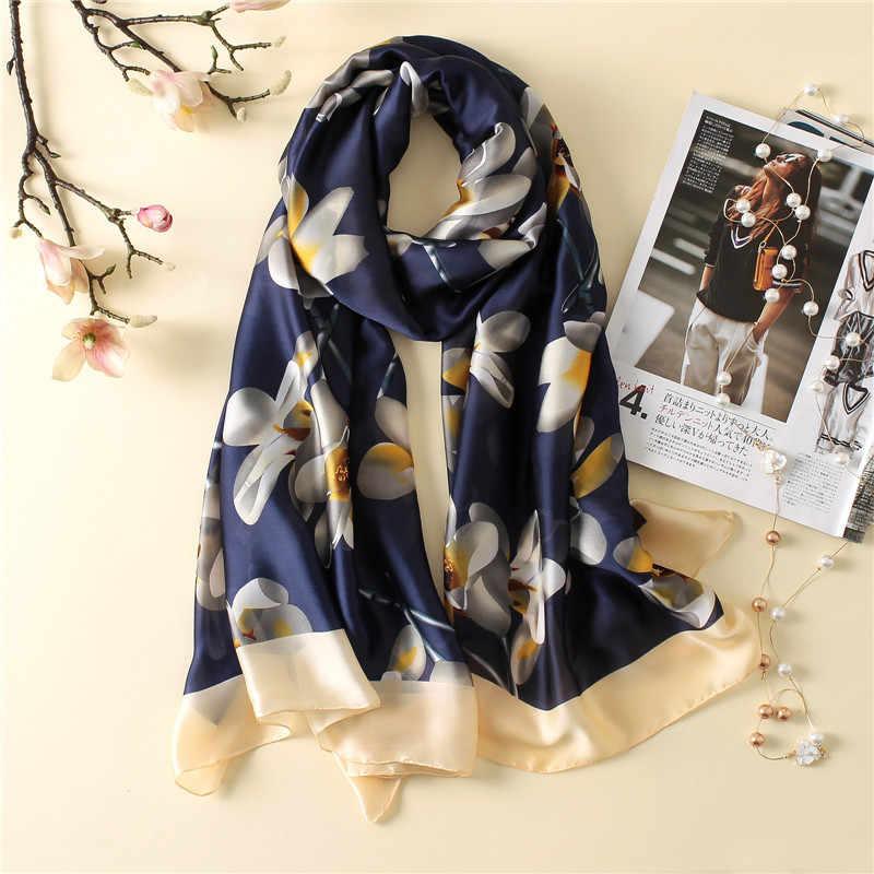 2019 di lusso delle donne di marca sciarpa di seta bandana di trasporto di modo morbido della signora del progettista femminile scialli avvolge formato lungo foulard 180*90 cm hijab