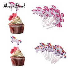 MagiDeal 24Pcs/Lot Unicorn Cartoon Cake Cupcake Topper Food Picks for Kids Baby Shower Birthday Party Cake Decoration