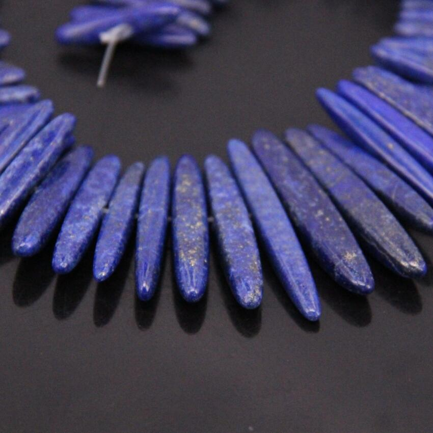 15.5strand AA-Grade Center Drilled Natural Raw Lapis Lazuli Point Beads,Blue Lapis Stick Tusk Pendant Nacklace Beads Jewelry