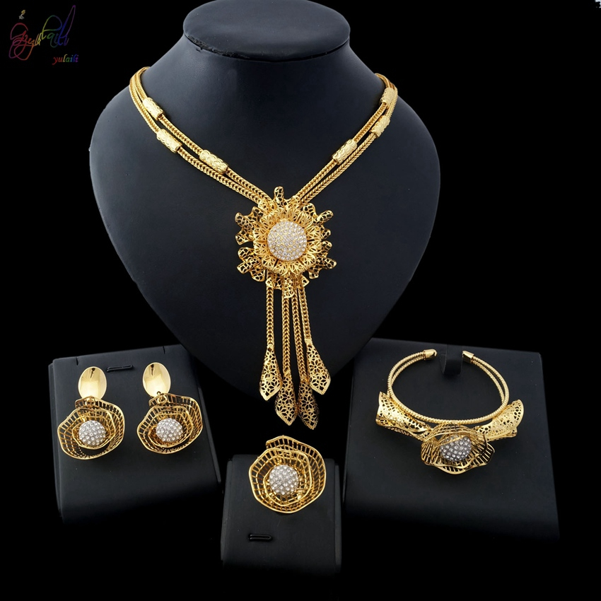 Yulaili Jewelry Sets Bridesmaids Luxury African Beads Jewelry Set in Gold Color Party Jewerly Sets Choker Womens Costume Jewelry