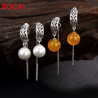 2019 fashion jewelry S925 silver retro pattern inlaid pearls natural stone Earrings Ear line cord tassel lady