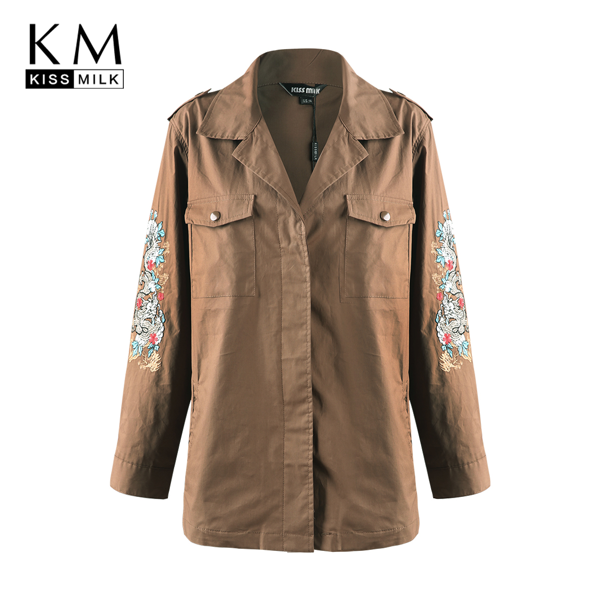 Kissmilk 2018 Plus Size Solid Floral Embroidery Women Jackets Large Pocket Female Coats Big Casual Lady Outwears