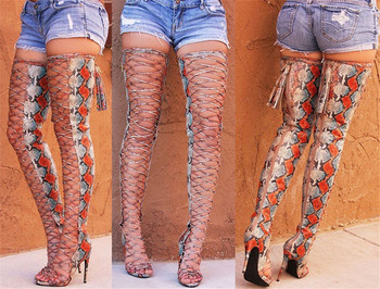 2019 Runway Snake Print Over The Knee Boots Women Sexy Summer Open Toe Gladiator Sandals High Heels Shoes Woman Thigh High Boots
