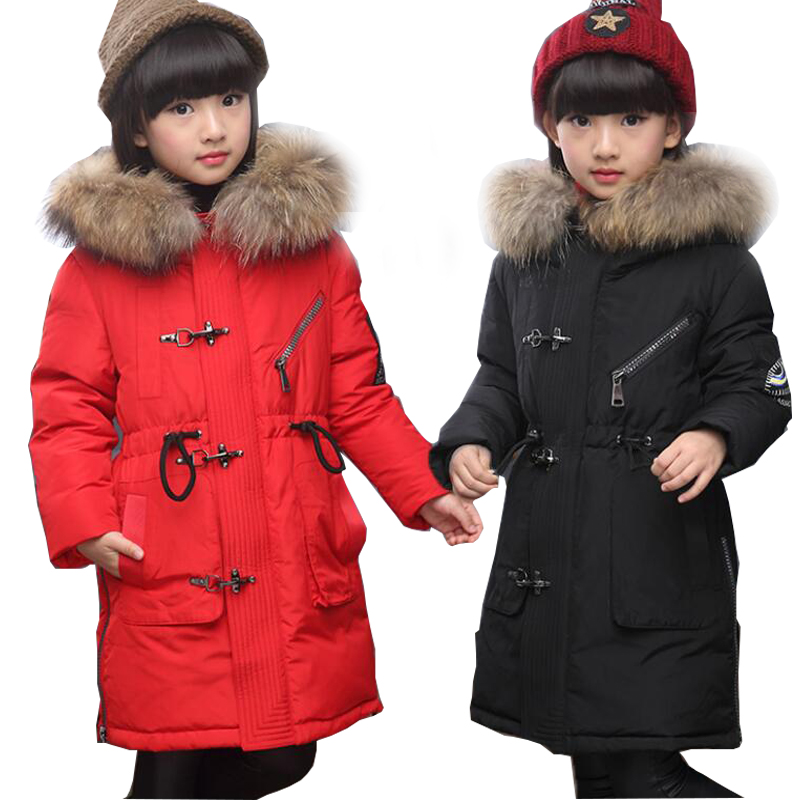 Good quality 2017 Winter Baby Girls Down Coats Long Style Outdoor Windproof Children Jackets Kids Students Warm Parkas Outerwear 2017girl down jackets coats for winter warm baby girl down outerwear