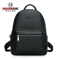 Genuine Leather Men's Backpack Fashion Cow Leather Backpacks College School Men Bag Fashion Black Large Capacity Travel Backpack