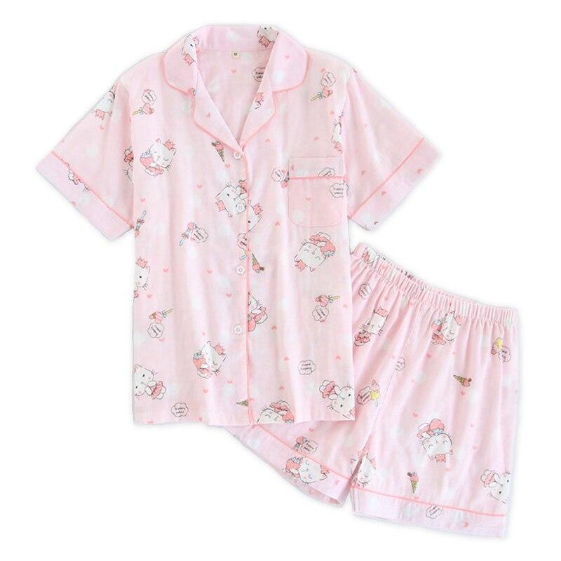 Cute pink pussy cats short   pajamas     sets   women pyjamas Summer 100% cotton short sleeves sexy shorts korean pijamas de las mujeres