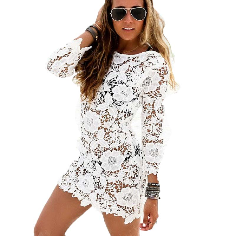 a6252b2f59f88c New Fashion Women Multicolor Crochet Lace Shirt Female Floral Lace Long  Sleeve Chiffon Blouse Lace S-5XL